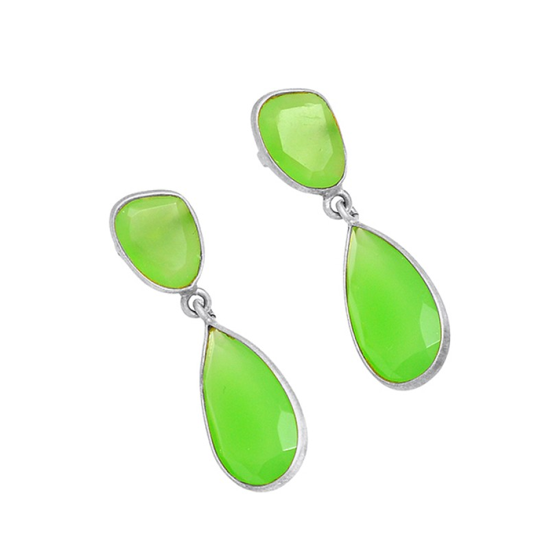 Bezel Setting Prehnite Chalcedony Gemstone 925 Silver Gold Plated Dangle Stud Earrings