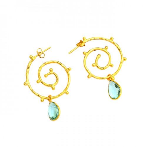 925 Sterling Silver Blue Topaz Pear Shape Gemstone Gold Plated Hoop Earrings