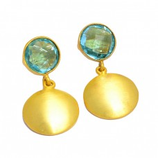 Briolette Round Shape Blue Topaz Gemstone 925 Silver Gold Plated Dangle Earrings