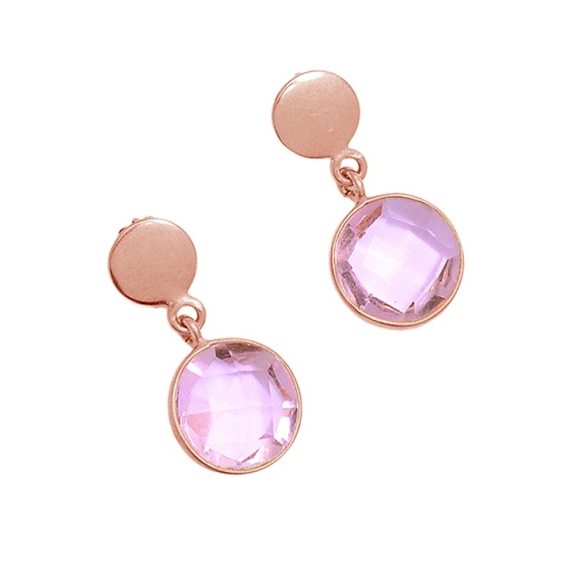 925 Sterling Silver Round Shape Pink Quartz Gemstone Gold Plated Dangle Stud Earrings