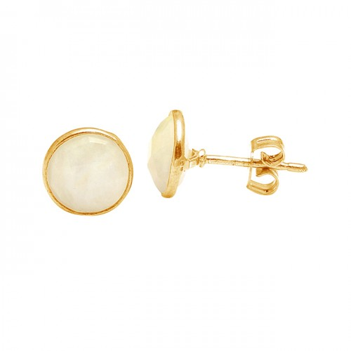 Cabochon Round Shape Rainbow Moonstone 925 Sterling Silver Gold Plated Stud Earrings