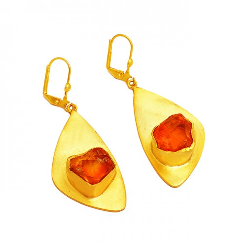925 Sterling Silver Citrine Rough Gemstone Gold Plated Handmade Earrings