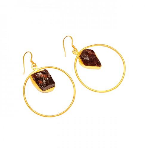 Designer Garnet Rough Gemstone 925 Sterling Silver Gold Plated Dangle Earrings