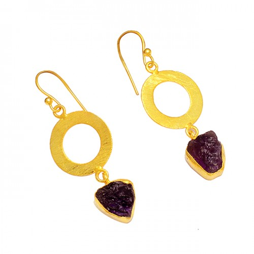 925 Sterling Silver Amethyst Rough Gemstone Gold Plated Stylish Earrings