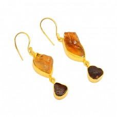 Citrine Garnet Rough Gemstone 925 Sterling Silver Gold Plated Dangle Earrings