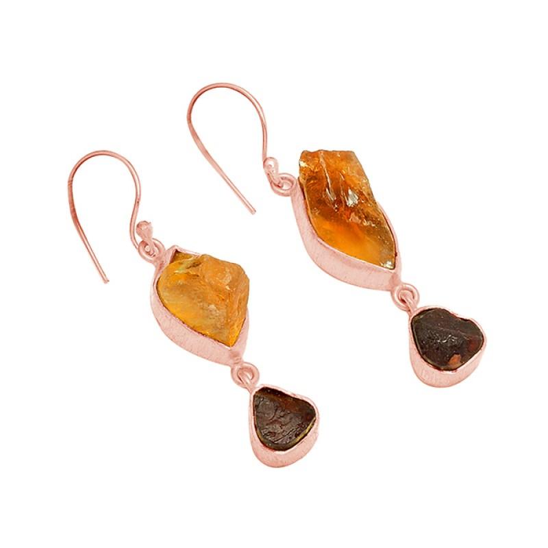 Citrine Garnet Rough Gemstone 925 Sterling Silver Gold Plated Dangle Earrings