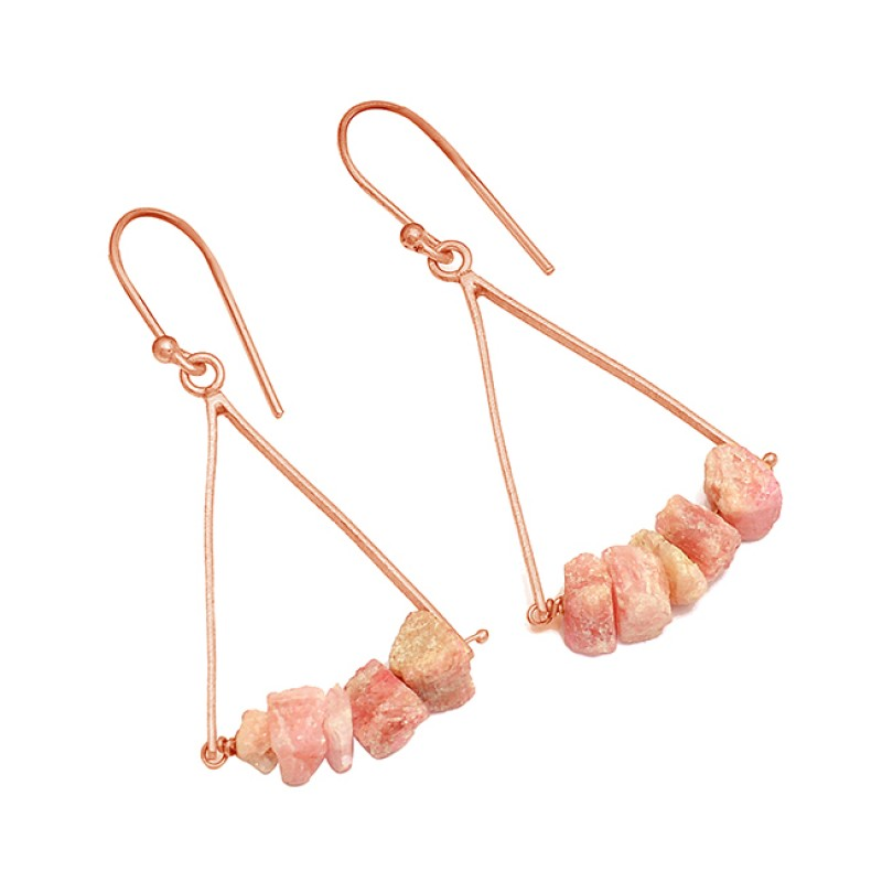 Pink Tourmaline Rough 925 Sterling Silver Gold Plated Dangle Handmade Earrings