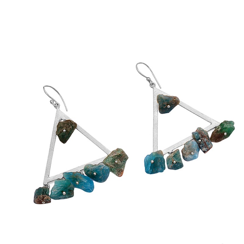 Handcrafted Designer Apatite Rough Gemstone 925 Silver Gold Plated Earrings