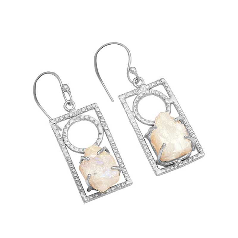 925 Sterling Silver Rainbow Moonstone Rough Gold Plated Handmade Earrings