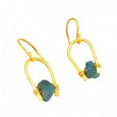 Unique Handmade Designer Aquamarine Rough Gemstone Gold Plated Dangle Earrings