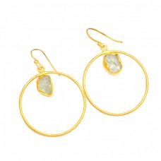925 Sterling Silver Aquamarine Rough Gemstone Gold Plated Dangle Earrings