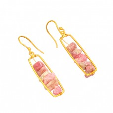 Stylish Designer Pink Tourmaline Rough Gemstone 925 Silver Gold Plated Earrings