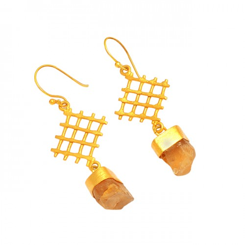 Filigree Style Citrine Rough Gemstone 925 Sterling Silver Gold Plated Earrings