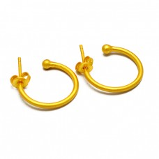 925 Sterling Silver Light Weight Handmade 925 Sterling Silver Gold Plated Hoop Earrings
