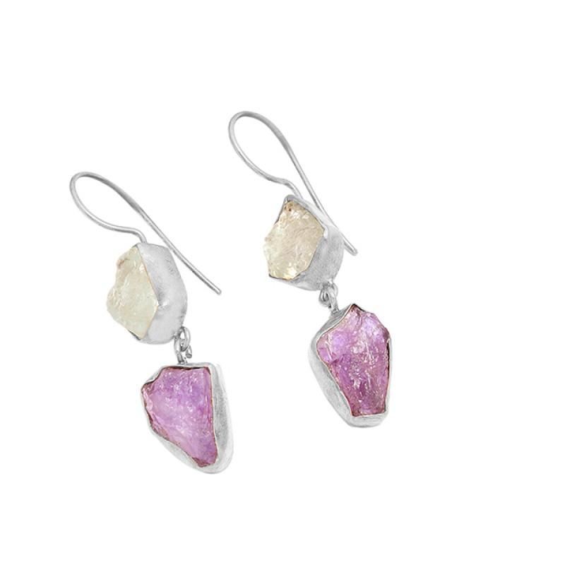 Rose Quartz Amethyst Gemstone 925 Sterling Silver Gold Plated Dangle Earrings