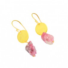 Handmade Designer Pink Tourmaline Rough Gemstone 925 Silver Gold Plated Earrings
