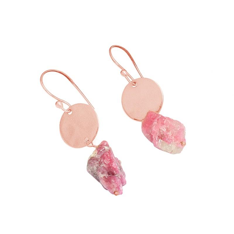 Handmade Designer Pink Tourmaline Rough Gemstone 925 Silver Gold Plated Earrings