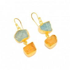Aquamarine Citrine Rough Gemstone 925 Sterling Silver Gold Plated Earrings