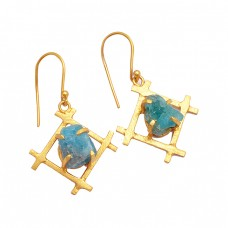 Blue Apatite Rough Gemstone 925 Sterling Silver Gold Plated Dangle Chain Earrings