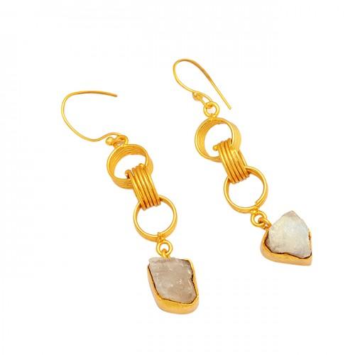 925 Sterling Silver Rainbow Moonstone Gold Plated Designer Dangle Earrings