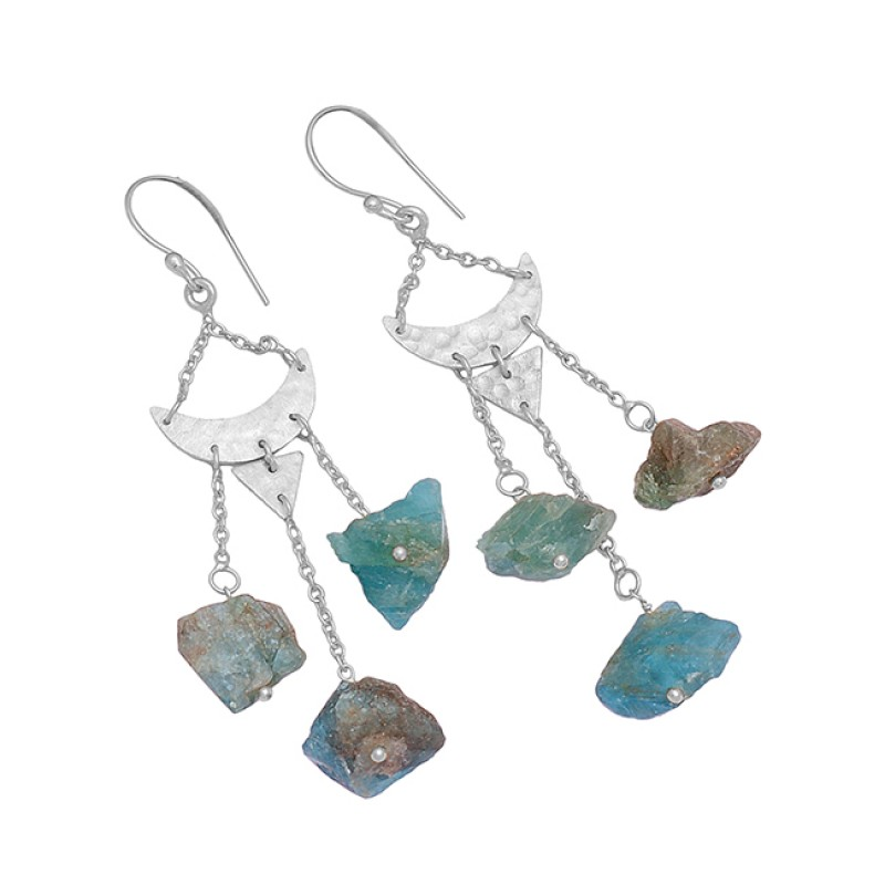 Handcrafted Designer Apatite Rough Gemstone 925 Silver Gold Plated Dangle Earrings
