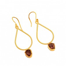 925 Sterling Silver Garnet Rough Gemstone Handmade Gold Plated Earrings