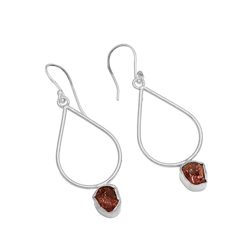 925 Sterling Silver Garnet Rough Gemstone Handmade Gold Plated Earrings