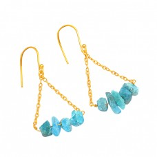 925 Sterling Silver Apatite Rough Gemstone Gold Plated Chain Dangle Earrings