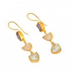 925 Sterling Silver Iolite Rose Quartz Green Amethyst Rough Gemstone Gold Plated Earrings