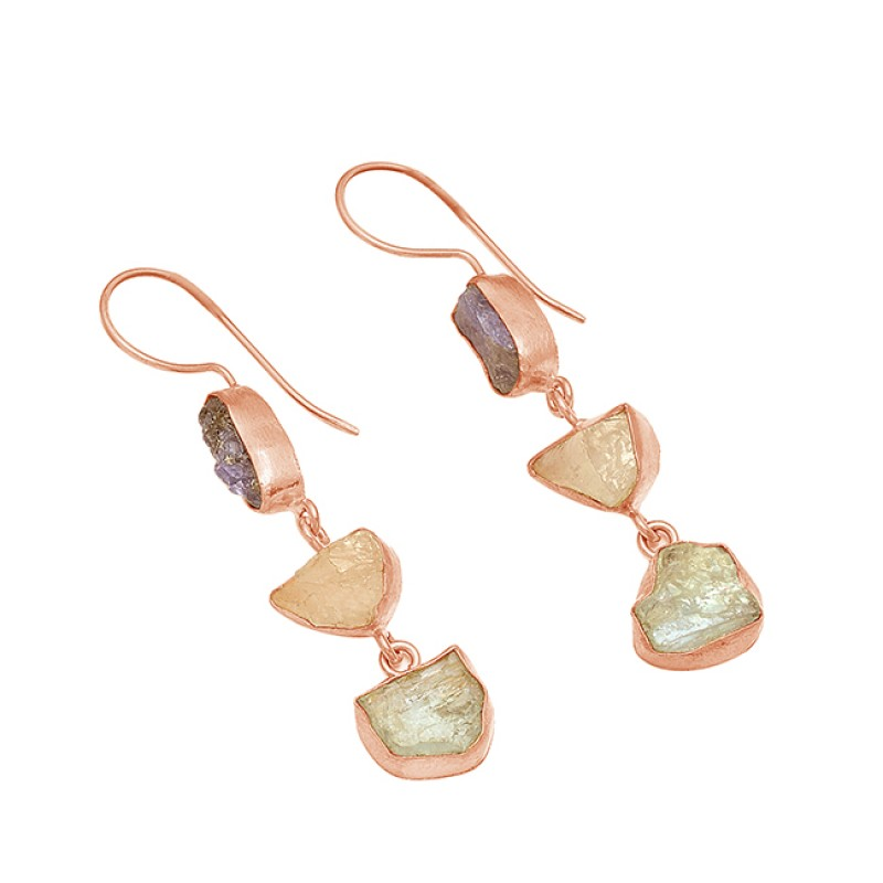 925 Sterling Silver Iolite Rose Quartz Green Amethyst Rough Gemstone Gold Plated Earrings