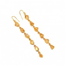 Raw Material Citrine Rough Gemstone 925 Sterling Silver Gold Plated Earrings