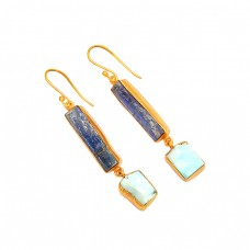 Blue Sapphire Larimar Rough Gemstone 925 Silver Gold Plated Handmade Earrings