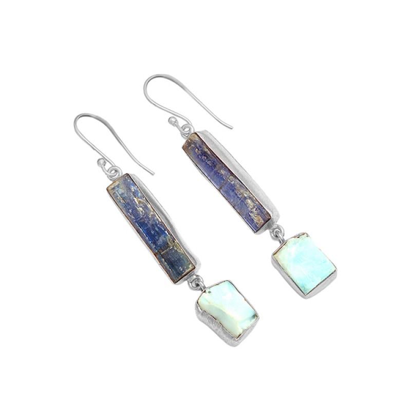 Blue Sapphire Larimar Rough Gemstone 925 Silver Gold Plated Handmade Earrings