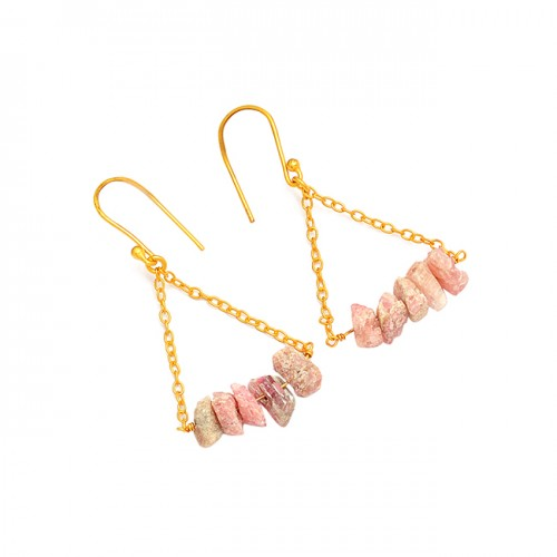 925 Sterling Silver Pink Tourmaline Rough Gemstone Gold Plated Dangle Earrings