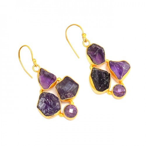 Amethyst Rough Gemstone 925 Sterling Silver Gold Plated Dangle Earrings