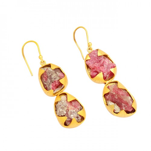 Pink Tourmaline Rough Gemstone 925 Sterling Silver Gold Plated Dangle Earrings