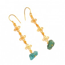 Apatite Rough Gemstone 925 Sterling Silver Gold Plated Filigree Style Dangle Earrings
