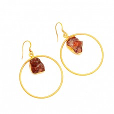 Citrine Rough Gemstone 925 Sterling Silver Gold Plated Handmade Dangle Earrings