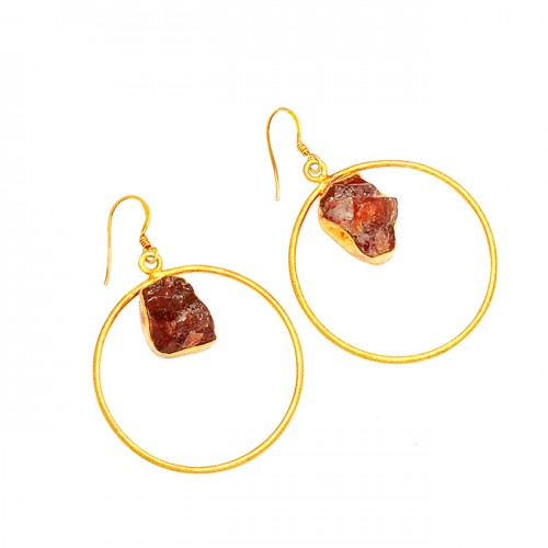 Citrine Rough Gemstone 925 Sterling Silver Gold Plated Handmade Dangle Earrings