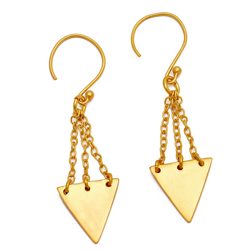 925 Sterling Silver Chain Hanging Gold Plated Handcrafted Dangle Earrings
