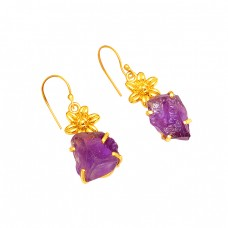 925 Sterling Silver Amethyst Rough Gemstone Gold Plated Dangle Earrings