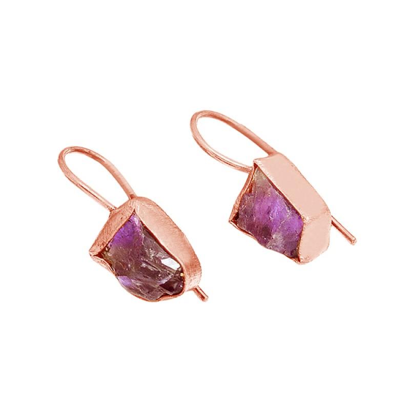 Amethyst Rough Gesmtone 925 Sterling Silver Gold Plated Fixed Ear Wire Earrings