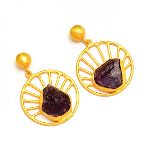 Amethyst Rough Gesmtone 925 Sterling Silver Gold Plated Stud Dangle Earrings