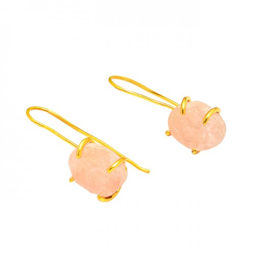 925 Sterling Silver Rose Quartz Gemstone Gold Plated Fixed Ear Wire Earrings