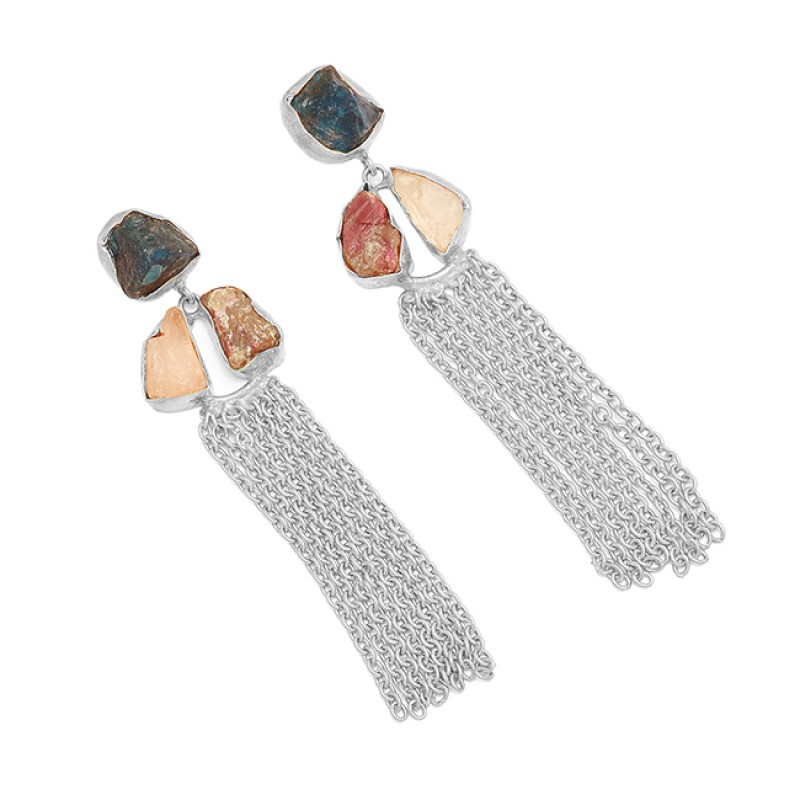 Rose Quartz Tourmaline Apatite Rough Gemstone 925 Silver Gold Plated Dangle Earrings
