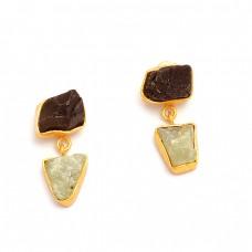 Aquamarine Black Onyx Rough Gemstone 925 Sterling Silver Gold Plated Stud Earrings
