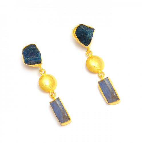 Apatite Sapphire Rough Gemstone 925 Sterling Silver Gold Plated Dangle Earrings