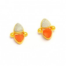 Carnelian Aquamarine Rough Gemstone 925 Sterling Silver Gold Plated Stud Earrings