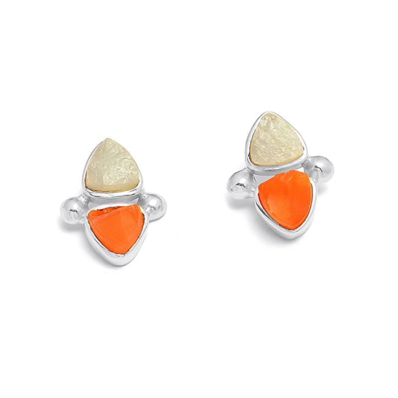 Carnelian Aquamarine Rough Gemstone 925 Sterling Silver Gold Plated Stud Earrings