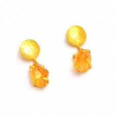 Citrine Rough Gemstone 925 Sterling Silver Gold Plated Dangle Stud Earrings